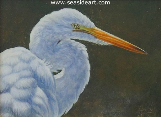 Light & Shade (Egret) by Beverly Abbott - Seaside Art Gallery