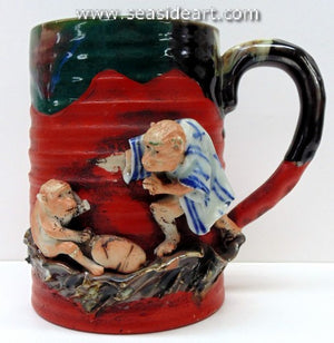 19/20TH C Japanese Sumida Gawa Mug-Two Monkeys