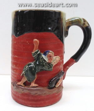19/20th C Japanese Sumida Gawa Large Mug with Man & Cannon