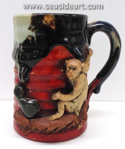 19/20th C Japanese Sumida Gawa Mug with Monkey