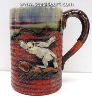 19/20th C Japanese Sumida Gawa Mug with A White Monkey
