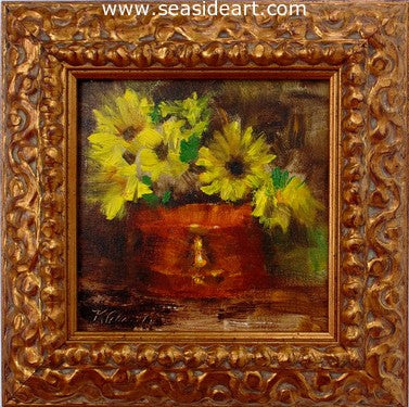 Mums and Copper by Karen Chamblin - Seaside Art Gallery