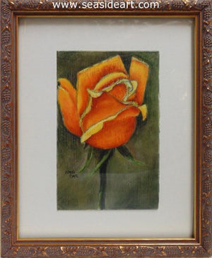 Yellow Orange Rose by Connie Cruise - Seaside Art Gallery