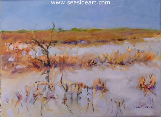 Peaceful Overcast Marsh by Janet Groom Pierce - Seaside Art Gallery