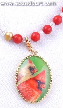 A Pendant Painting  - Cardinal Pair by Jewelry - Seaside Art Gallery
