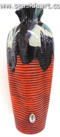 19th/20th C Japanese Sumida Gawa-Pinched Neck Vase with Two Women