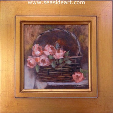 Pink Roses in Basket by Karen Chamblin - Seaside Art Gallery