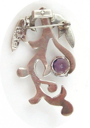 Mexican Sterling Silver Floral Pendant w/Amethyst by Jewelry - Seaside Art Gallery
