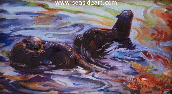 Playful Otters by Sun Bauer - Seaside Art Gallery