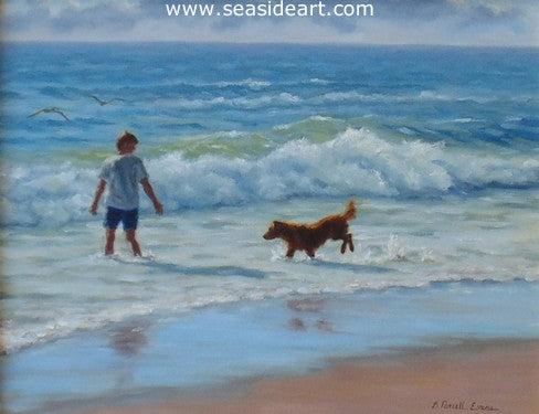 Playing in The Surf by Beth Parcell Evans - Seaside Art Gallery