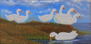 Quack Queue by Jackie Zagon - Seaside Art Gallery