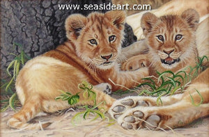 Abbott-Quiet, Mom's Resting (Lion Cubs)