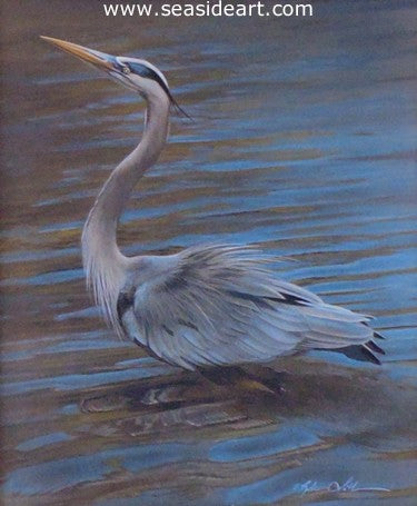 Ruffled Feathers – Great Blue Heron by Rebecca Latham - Seaside Art Gallery