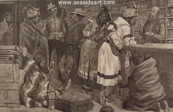 Sketch in a Hudson Bay Trading Store by Frederic Sackrider Remington - Seaside Art Gallery