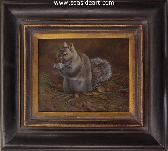 Grassy Seat-Gray Squirrel by Rebecca Latham - Seaside Art Gallery