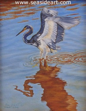Shadow of a Tri-colored Heron is a miniature oil painting on ivorine by the artist, Beverly Abbott
