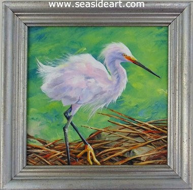 Shore Breeze-Heron by Lauri Waterfield - Seaside Art Gallery