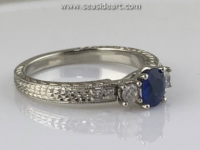Star Sapphire & Diamond Ring 14kt White Gold by Jewelry - Seaside Art Gallery