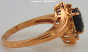 Sapphire & Diamond Ring 14kt Rose Gold by Jewelry - Seaside Art Gallery