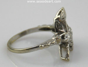 Diamond Filigree Ring 14kt White Gold by Jewelry - Seaside Art Gallery