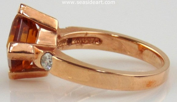Citrine & Diamond Ring 14kt Rose Gold by Jewelry - Seaside Art Gallery