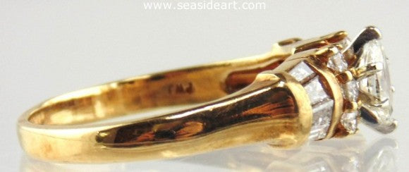 Diamond Ring 14kt Two Tone Gold
