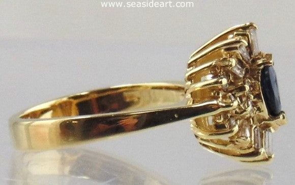 Sapphire & Diamond Cocktail Ring 14kt Yellow Gold by Jewelry - Seaside Art Gallery
