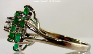Emerald & Diamond Ring 10kt White Gold by Jewelry - Seaside Art Gallery