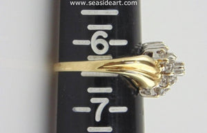 Diamond Cluster Ring 10kt Yellow Gold by Jewelry - Seaside Art Gallery