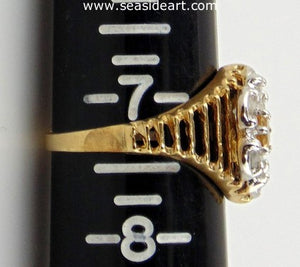 Citrine & Diamond Ring 10kt Yellow Gold by Jewelry - Seaside Art Gallery