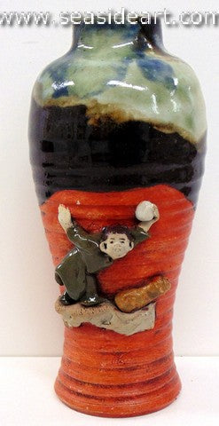 19th/20th C Japanese Sumida Gawa-Vase with Man in Green Robe
