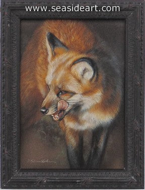 Snacking-Red Fox by Rebecca Latham - Seaside Art Gallery