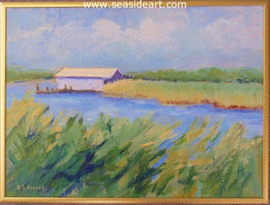 Soundside Boathouse by Janet Groom Pierce - Seaside Art Gallery