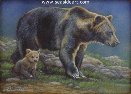Springtime Outing (Grizzly Family) by Rebecca Latham - Seaside Art Gallery