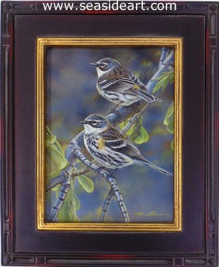 Spring Visitors (Yellow-rumped Warblers) by Rebecca Latham - Seaside Art Gallery