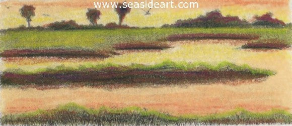 Sunset Marsh by David Hunter - Seaside Art Gallery