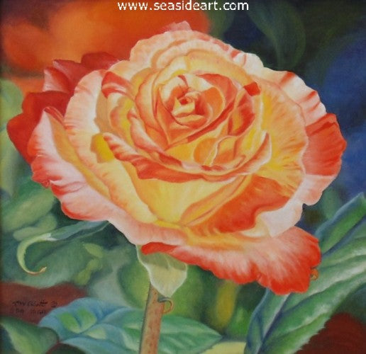Sunset – Yellow And Orange Rose by Beverly Abbott - Seaside Art Gallery