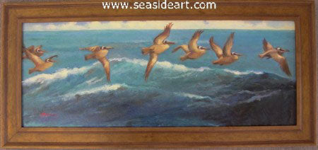 The Flight of The Pelican by Jean Cook - Seaside Art Gallery