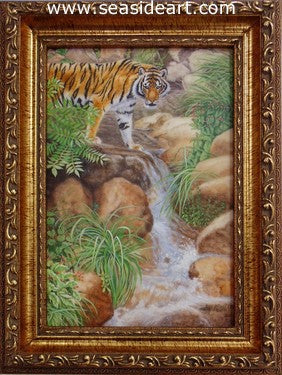 Tiger Standing in Forest Stream (Siberian Tiger) by Beverly Abbott - Seaside Art Gallery