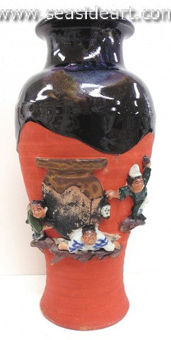 19th/20th C Japanese Sumida Gawa-Vase with Four Men