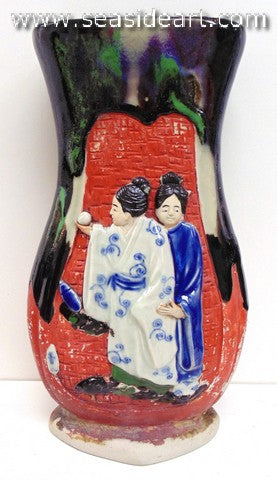 19th/20th C Japanese Sumida Gawa-Large Vase with Three Women