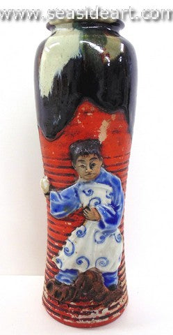 19th/20th C Japanese Sumida Gawa-Vase with Girl Holding Ball