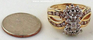 Diamond Cluster Dinner Ring 10 kt Two-tone Gold by Jewelry - Seaside Art Gallery