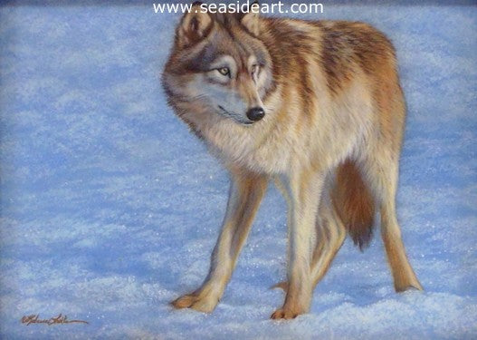 Winter Pause (Wolf) by Rebecca Latham - Seaside Art Gallery