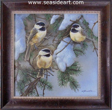 Winter Trio (Chickadees) by Rebecca Latham - Seaside Art Gallery