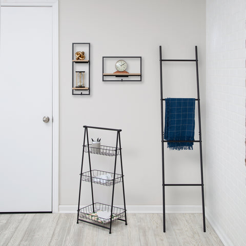 entryway - ladder rack and a-frame shelf