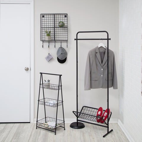 a-frame shelf, swivel coat rack