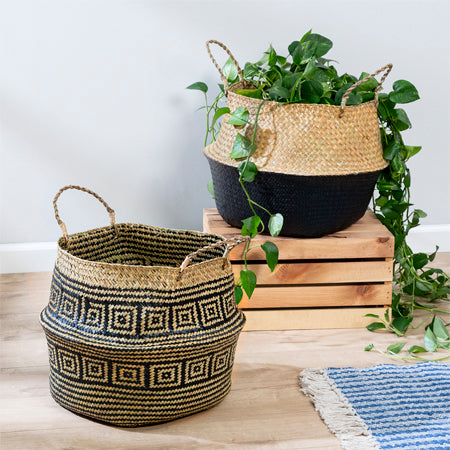 set of 2 nesting foldable seagrass belly baskets sto-08751