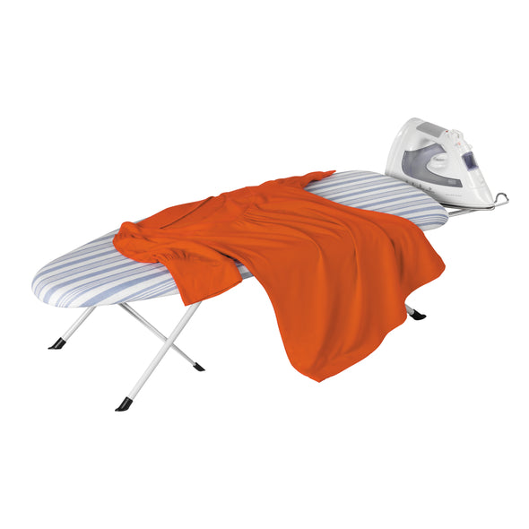 Foldable Tabletop Ironing Board with Iron Rest, Gray Stripe