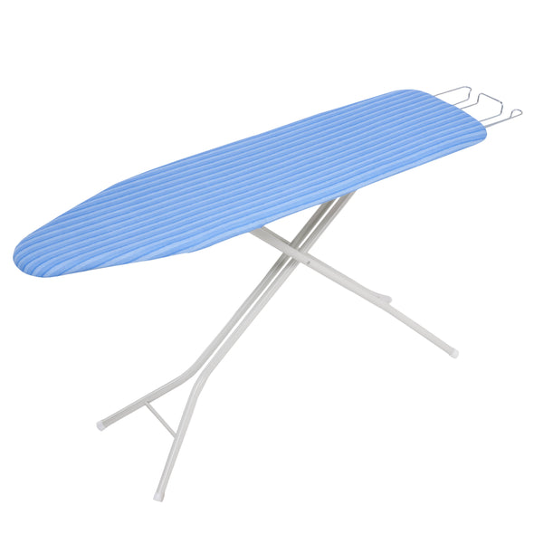 Ironing Board with Retractable Iron Rest, White with Blue Cover
